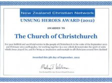 Unsung Heroes Award from the NZ Christian Network